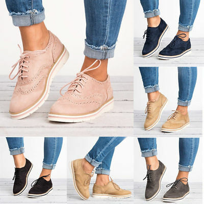 Women Casual Wing Tip Brogues Oxfords Dress Formal Stitched Lace up Flats Shoes