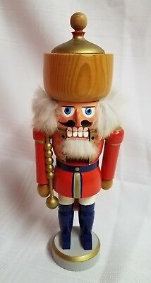 """ERZGEBIRGE East Germany Nutcracker Solider 10.5"""" tall Real Fur Red"""