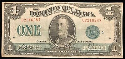 1923 DOMINION OF CANADA 1 DOLLAR BANK NOTE GREEN SEAL McCavour/Saunders
