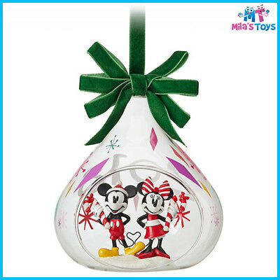 Disney Mickey and Minnie Mouse 2018 Christmas Holiday Glass Drop Ornament