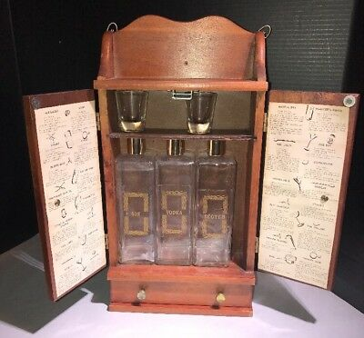 VTG Wood Wall Hanging Portable Liquor Cabinet Bar with Decanters Glasses Recipes