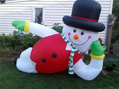 10 Ft Inflatable Lounging Snowman Christmas Lawn Decoration Rare NIB