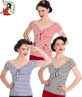 HELL BUNNY 50s style DOLLY nautical STRIPE jersey rockabilly TOP