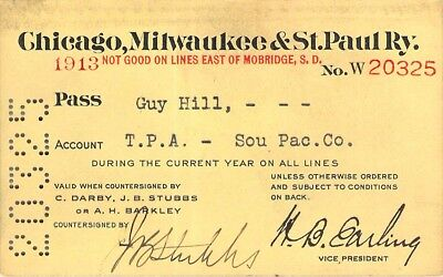 1913 Chicago Milwaukee St Paul Southern Pacific Agt Railroad Rr Railway Ry Pass