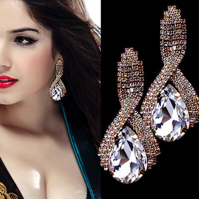 Woman Rhinestone Dangle Earrings Luxury Tear Drop Earrings Jewelry  Earrings