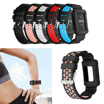 Replacement Waterproof Silicone Strap Wrist Band+ Frame for Fitbit Charge 3
