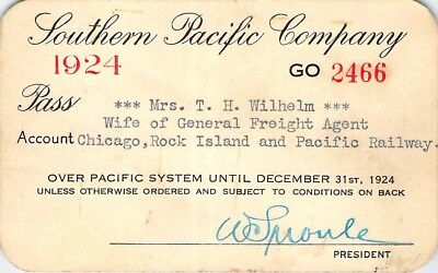 1924 Southern Pacific Chicago Rock Island Pacific Railroad Rr Railway Ry Pass