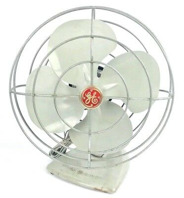 Vintage 1950's GE General Electric Oscillating Desk Fan F11S107 Working Cond.