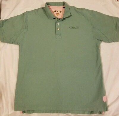 682af75d Orvis Fly Fishing Green Polo Shirt Embroidered Logo Short Sleeve Mens Large
