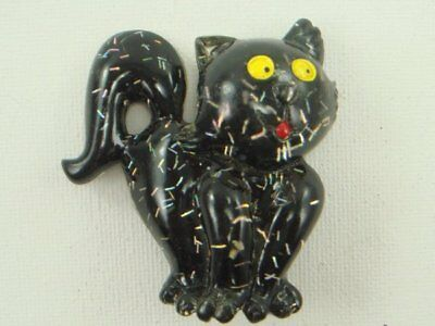 Vintage Black Lucite Cat Pin Brooch Confetti Halloween Kitty Cat