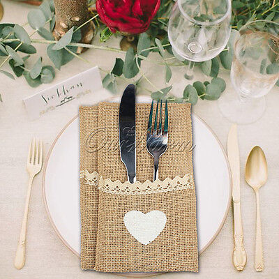 100x Hessian Burlap Heart Cutlery Holder Lace Rustic Wedding Party Table Decor