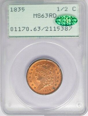 1835 1/2c Classic Head Half Cent PCGS MS63RD Red CAC Approved Rattler Holder!!