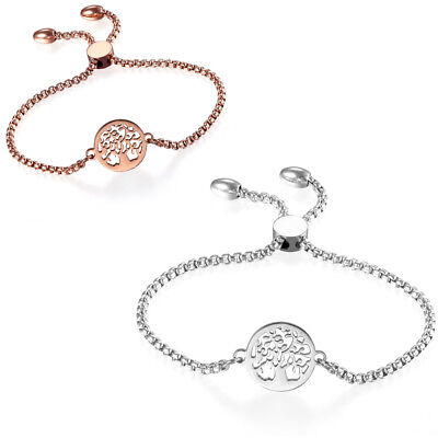 Women's Stainless Steel Freely Adjustable Charm Hollow Tree Bracelet Chain Lucky