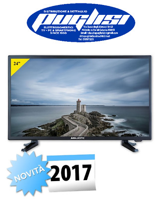 "TV LED 24"" TELEVISORE Full HD DVB-T2 USBREC  SAT/TV S2HD FUNZIONE HOTEL NERO"