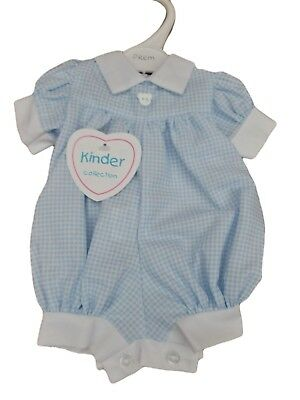 BNWT Premature preemie Baby Boys gingham Teddy all in one romper Made in U.K