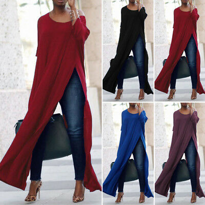 Womens Casual Solid Off The Shoulder High Split Crop Top Shirt Long Maxi Blouse