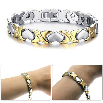 Silver Gold Tone Stainless Steel Heart Magnetic Stone Womens Bracelet Chain Link
