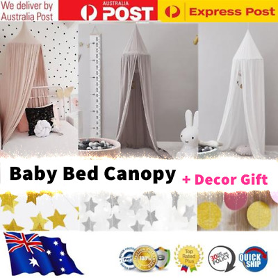 Kids Baby Bed Canopy Mosquito Net Curtain Cotton Bedding Crib + Decor Gift AU
