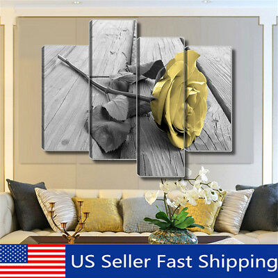 4Pcs Yellow Rose Floral Canvas Print Painting Picture Wall Art Home Decor Framed