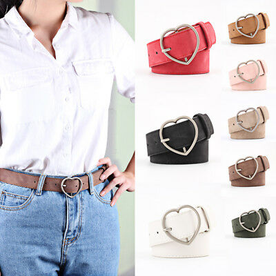 Women Fashion Heart Shaped Buckle Waist Belt Dress Jeans Faux Leather Waistband