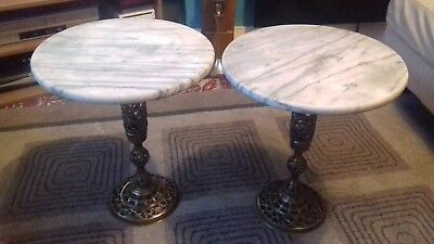 Pair Antique Plant Stands With Solid Marble Top And Brass/Broze/Copper Base....