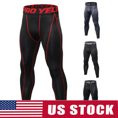 Gym Mens Compression Fitness Tights Base Layer Stretch Sports Running Pants