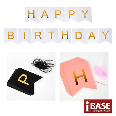 HAPPY BIRTHDAY Banner Party Bunting Decoration Garland Gold Metallic Letter