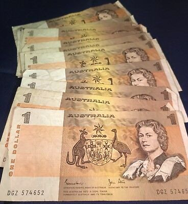 Australian Paper $1 Note Circulated Condition. aUnc & In Sequence. Not Pictured.