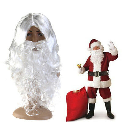 Luxury White Santa Claus Wig & Beard Set Costume Adult Christmas Fancy Dress UK