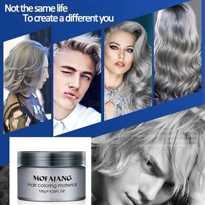 Silver Colour Grey Hair Wax Men Women Grandma Hair Ash Dye Gray Mud Temporary US