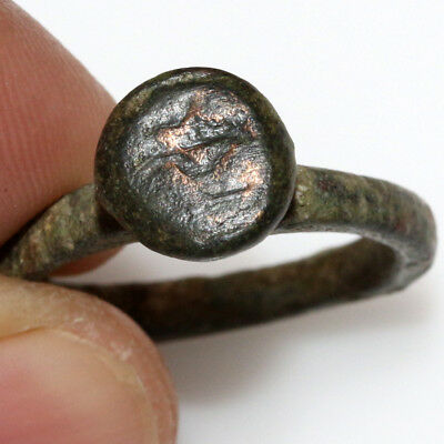 PERFECT-Byzantine Bronze SEAL STAMP Ring Circa 1200-1400 AD