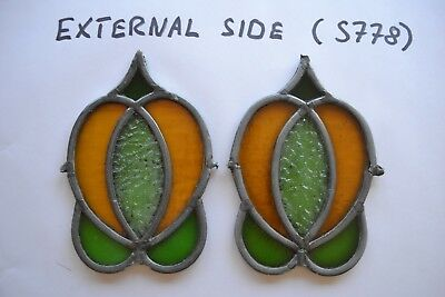 2 leaded light stained glass floral parts. S778