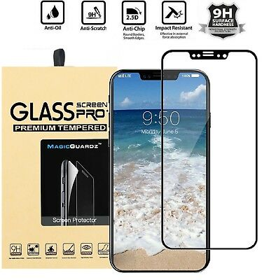For iPhone X XS Max XR 3D Curved Full Coverage Temper Glass Screen Protector A+