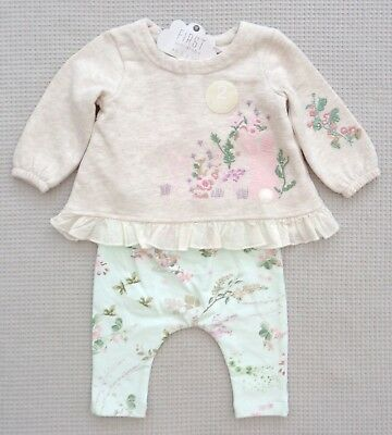 BNWTS NEXT Baby Girls Floral Bunny Sweat Tunic Top & Leggings Outfit 0-3months