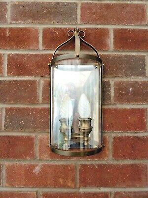 Pair of French Vintage  Brass / Bronze  and Glass Twin Wall Lights