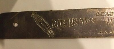 Antique ROBINSON'S COACH WORKS Buggy Brass Name Plate - 1890's