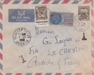 Cameroun Cameroon France 1958 Taxed Cover 20 Francs Revenue Used As Postage