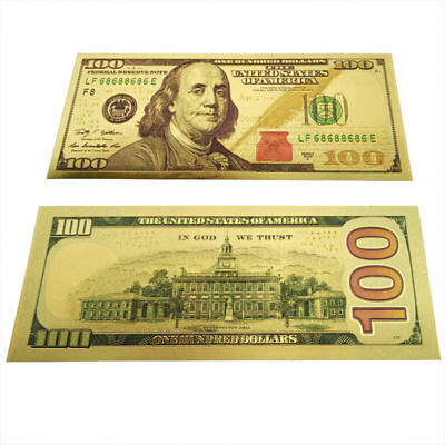New Wholesale 10X banknotes $100 USD Gold foil polymer paper money original Size