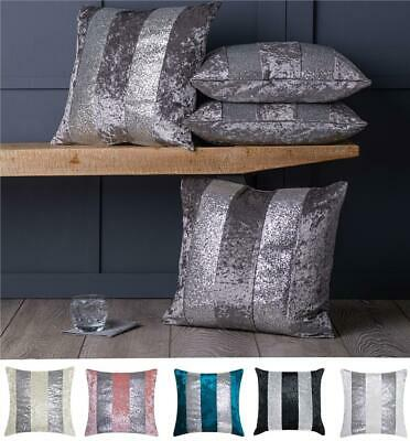 "Set of 4 Silver Glitter Stripe Crushed Velvet Cushion Covers 18"" or Large 22"""