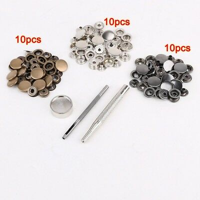 30pcs bouton pression metal 15mm+ outil a fixer pour cuir maroquinerie O3I4) 1X