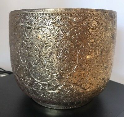 Antique Asian Embossed Brass Planter Pot - Animals People @ 1900