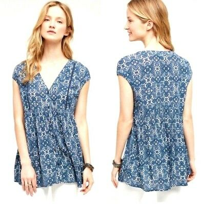 acfcbbe1678 Anthropologie Vanessa Virginia Women's Ladder Lace Tunic Blouse Top Blue  Size XS