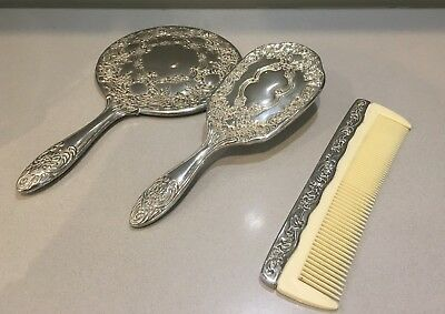 Lovely Silver Plated Dressing Table Set - brush, mirror, comb