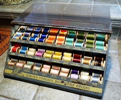 """Antique """"Lily Mills Co."""" Sewing Threads Spool Display Cabinet, with Thread"""