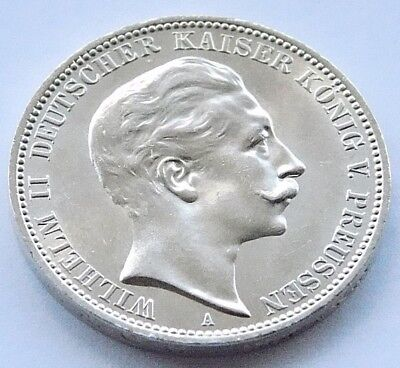 GERMAN 3 Mark 1912 A States PRUSSIA WILHELM II. 90% Silver EMPIRE WW1 NICE Coin