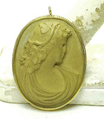 Antique Victorian 14k Yellow Gold High Relief LAVA CAMEO Brooch Pin circa 1900