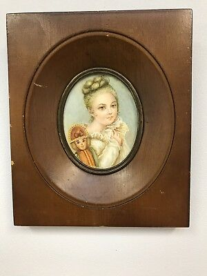 French Antique 19th/20th Century miniature painting portrait of a young lady