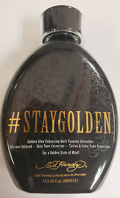 Ed Hardy Stay Golden #Staygolden Dark Tanning Bed Lotion 13.5 Oz