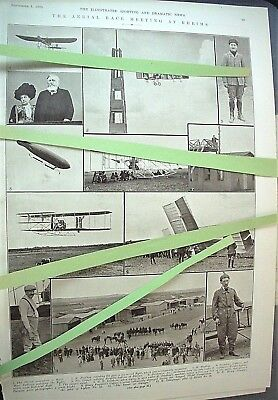 Vintage 1909 Rhiems Air Race Early Aviation Not A Reprint Original