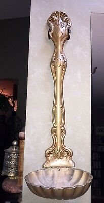"""Vintage Holy Water Font Cast Metal Wall Hanging Catholic French Fleur De Lis 25"""""""